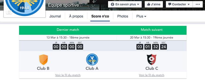 Widget Score'n'co sur Facebook