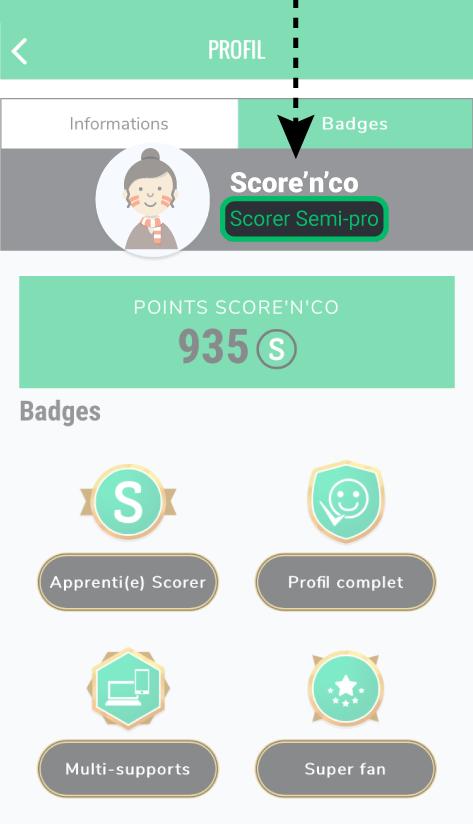 Mention Scorer Semi-pro d'un profil sur Score'n'co