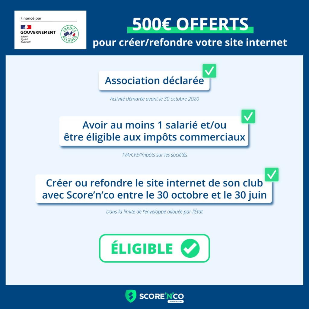 Conditions d'éligibilité de l'offre des 500€