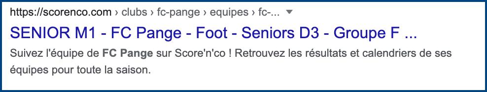 La page du FC Pange sur Score'n'co dans la page de résultats google