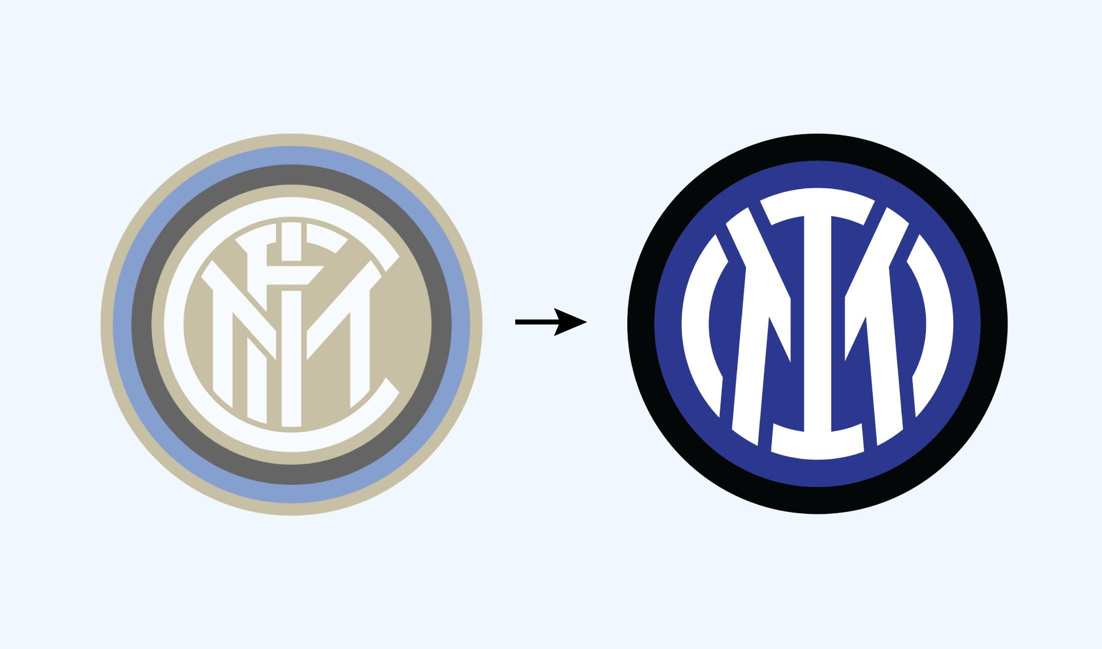 Évolution du logo de l'équipe de foot italienne : l'Inter de Milan