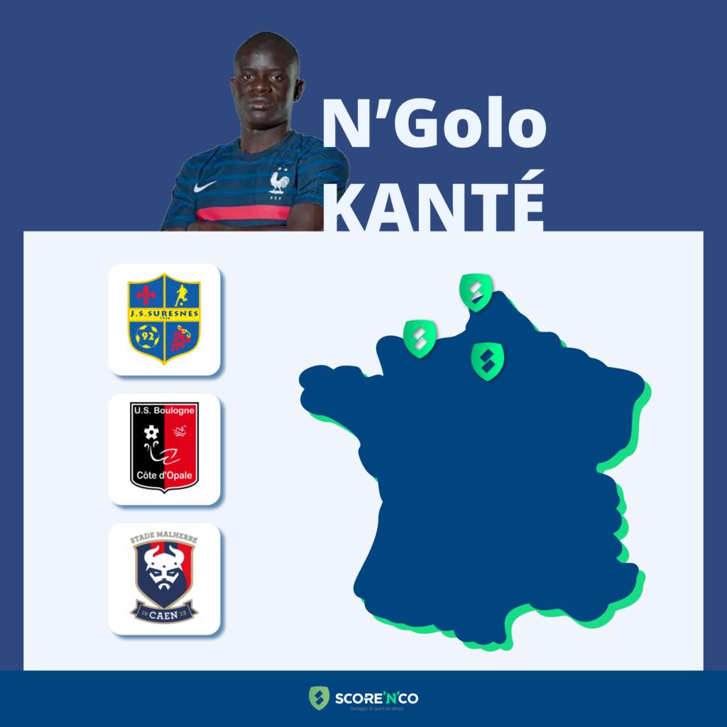 Parcours des clubs en France du joueur N'Golo Kanté
