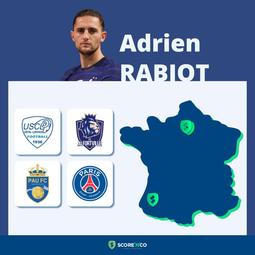 Parcours des clubs en France du joueur Adrien Rabiot