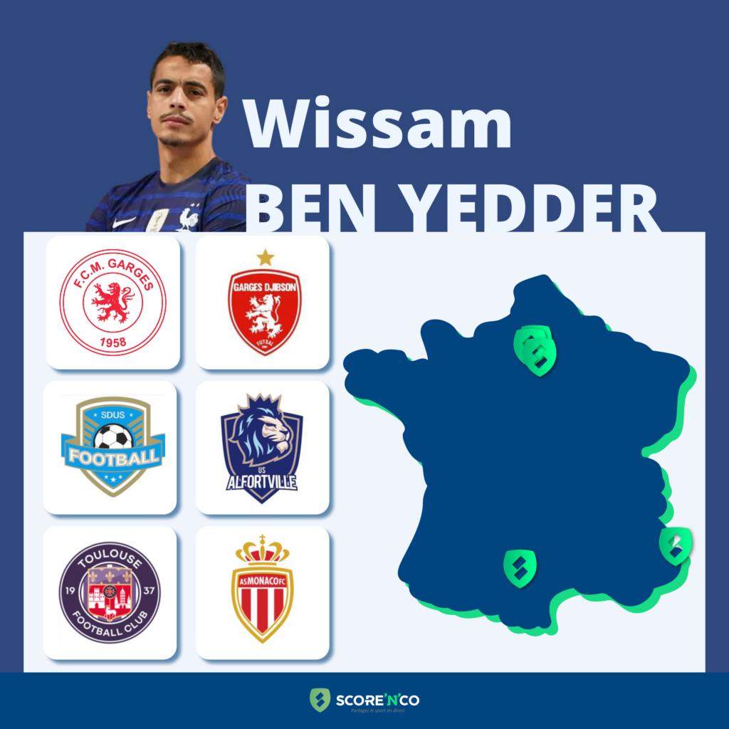 Parcours des clubs en France du joueur Wissam Ben Yedder