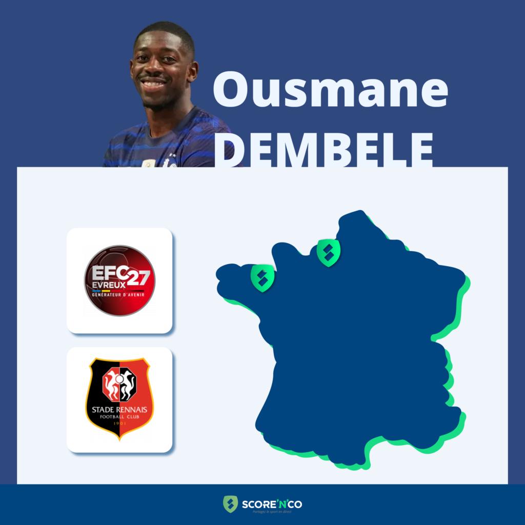 Parcours des clubs en France du joueur Ousmane Dembele