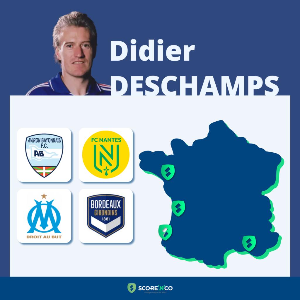 Parcours des clubs en France en tant que joueur de Didier Deschamps