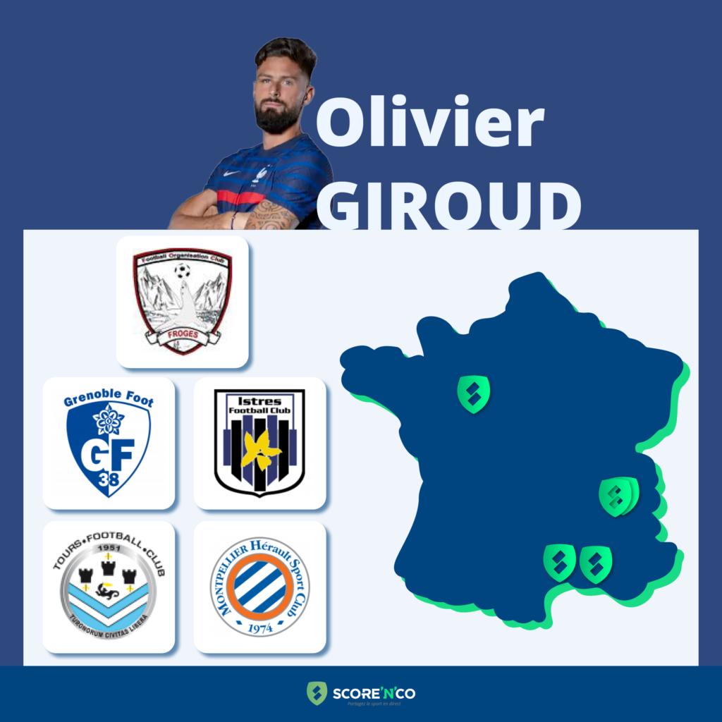 Parcours des clubs en France du joueur Olivier Giroud