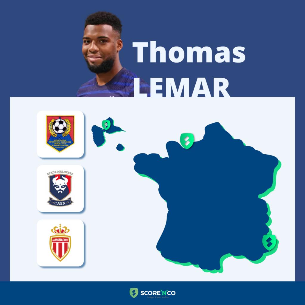 Parcours des clubs en France du joueur Thomas Lemar