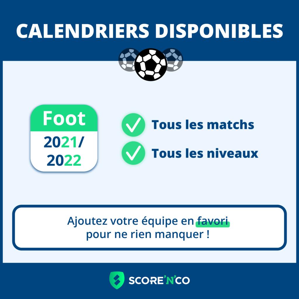 Les calendriers de foot ont été mis à jour